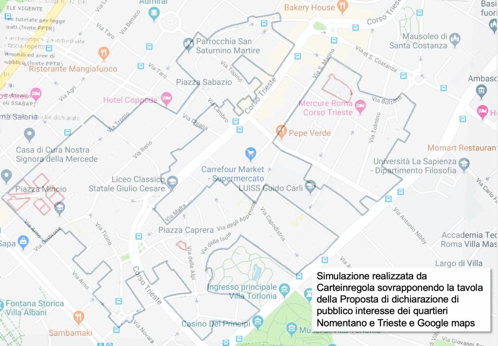 Simulazione Carteinregola vincolo quartieri Nomentano e Trieste