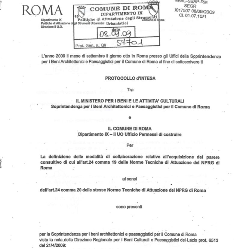 protocollo mibac comune 2009