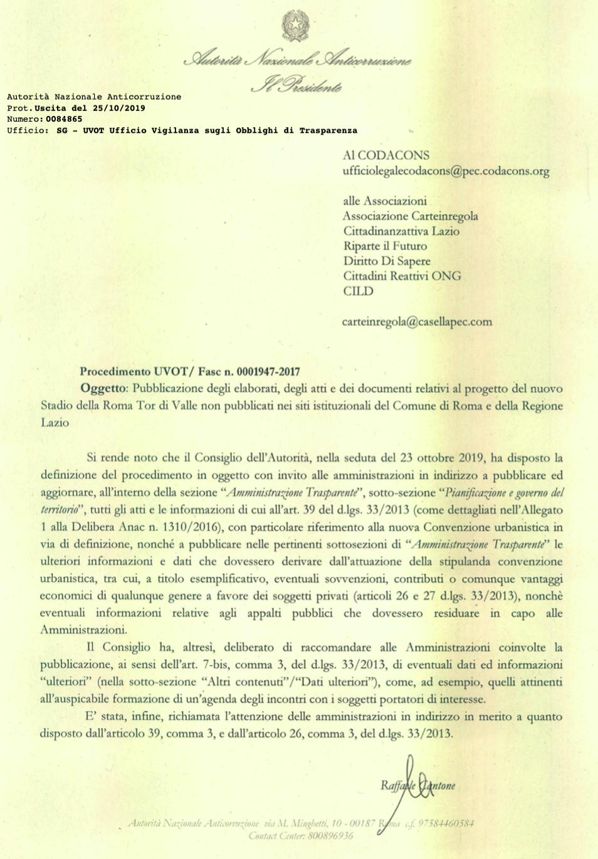 La lettera dell'ANAC a Carteinregola e associazioni