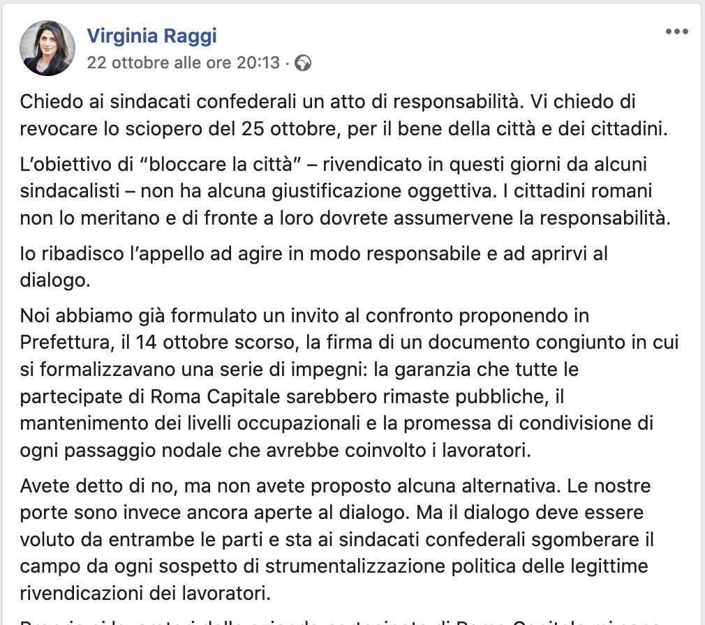 sciopero dalla pagina Fb di Virginia Raggi, 22 ottobre 2019