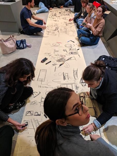 Studenti di architettura al lavoro, sotto la guida dell'artista Giancarlino Benedetti Corcos
