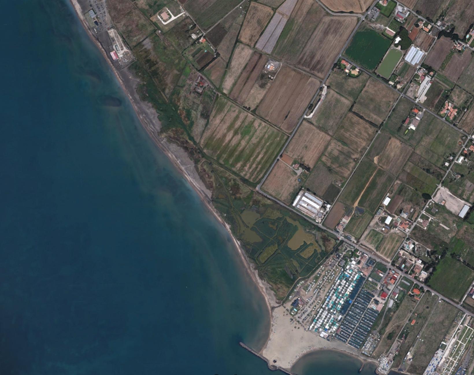 la palude di Torre Flavia da google map