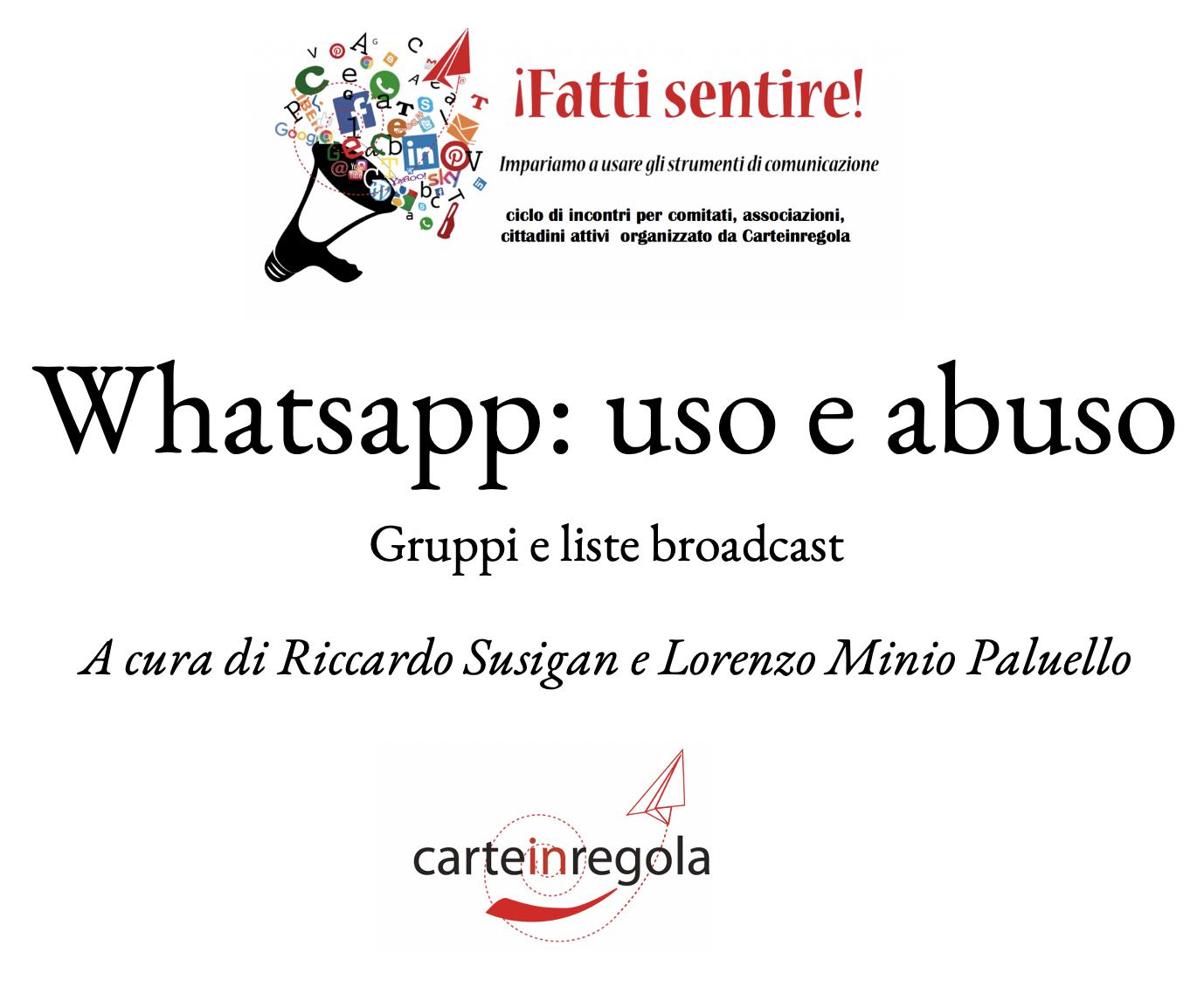 copertina vademecum Carteinregola Watsapp uso e abuso