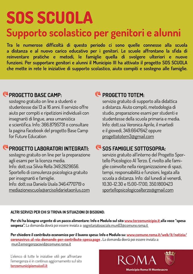 SUPPORTO SCOLASTICO TERZO MUNICIPIO