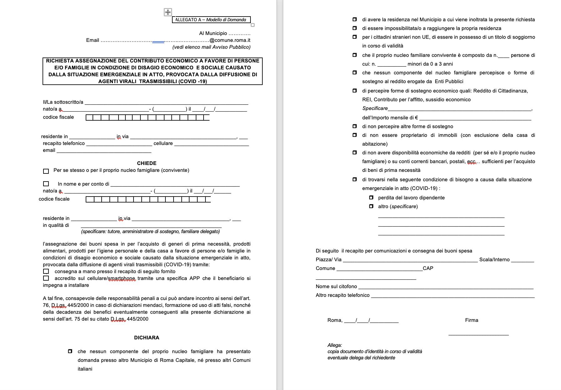 modello comune roma per richiesta buono spesa 3 aprile 2020