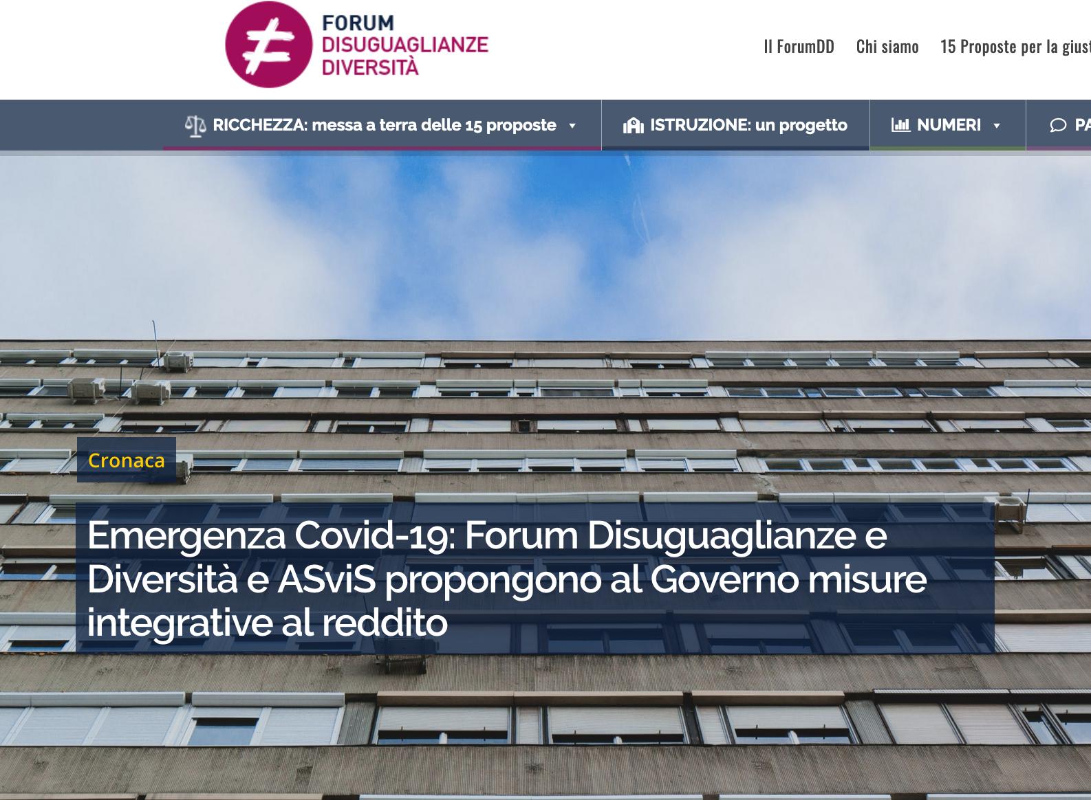 sito Forum disuguaglianze coronavirus