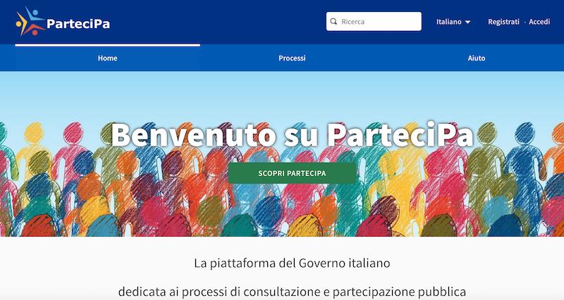 sito piattaforma PARTECIPA governo