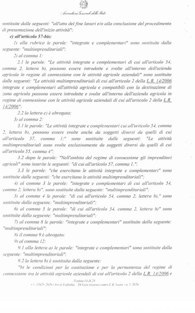 RICORSO MIBACT LAZIO MAGGIO 2O20. pag 14 punto 2