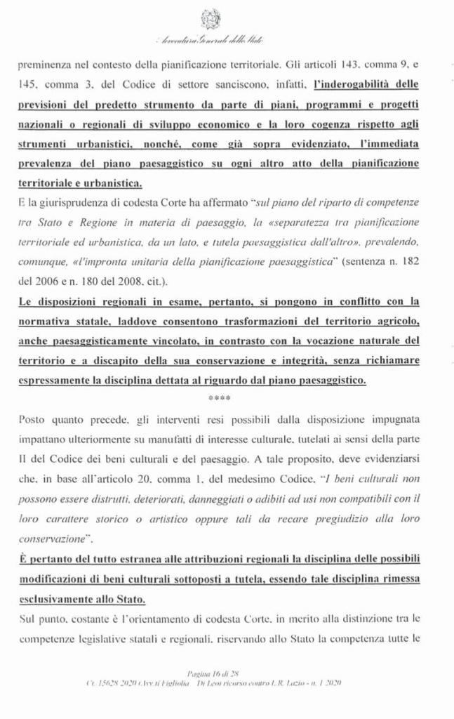RICORSO MIBACT LAZIO MAGGIO 2O20. pag 16 punto 2