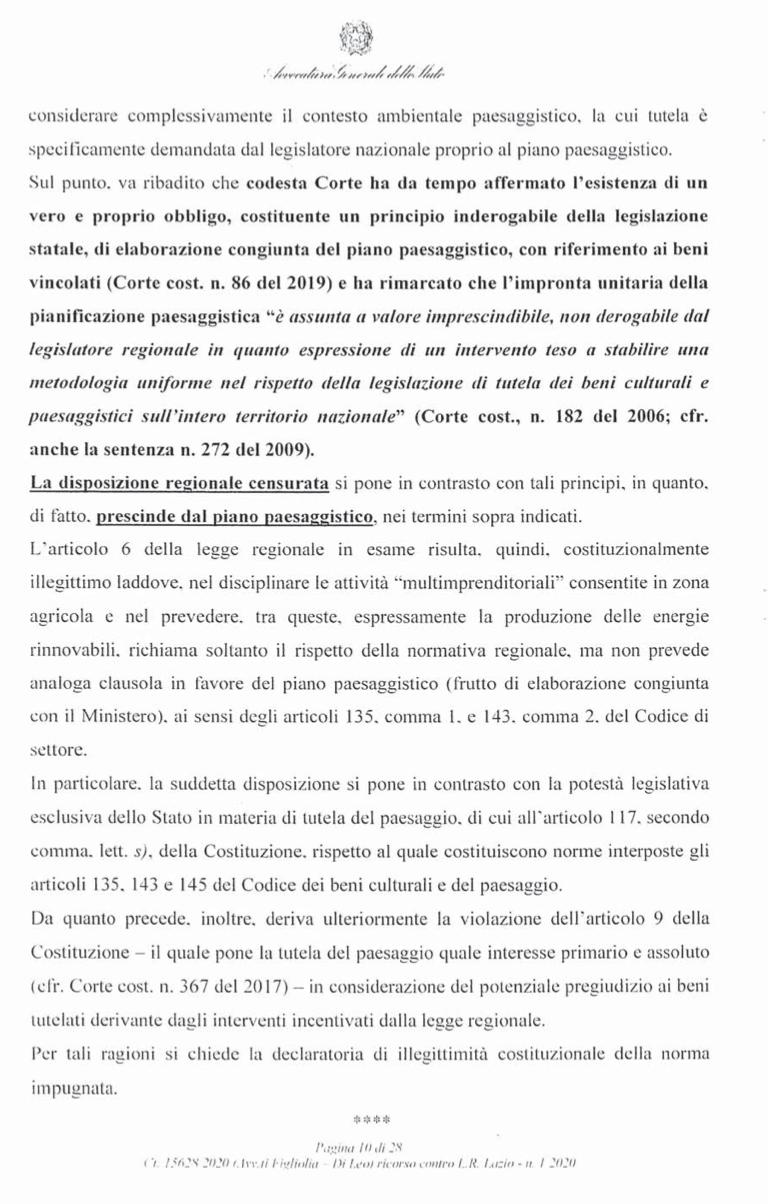 RICORSO MIBACT LAZIO MAGGIO 2O20. pag10 punto 2