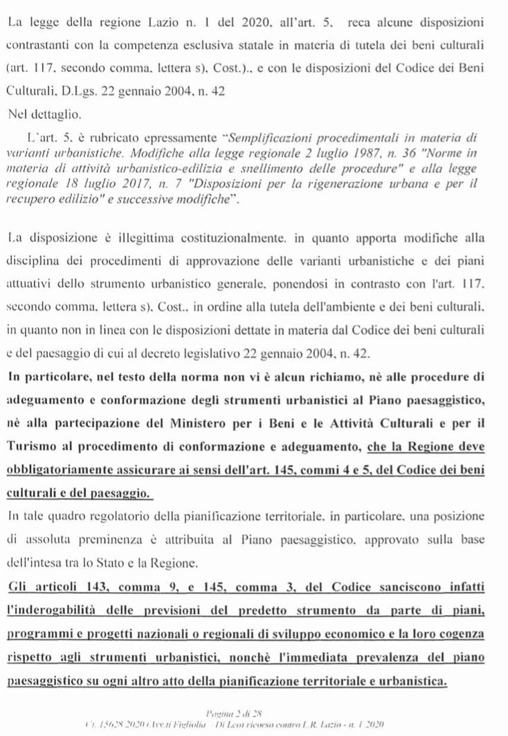 RICORSO MIBACT LAZIO MAGGIO 2O20. pag2 punto 1