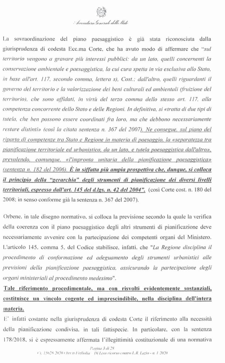 RICORSO MIBACT LAZIO MAGGIO 2O20. pag3 punto 1