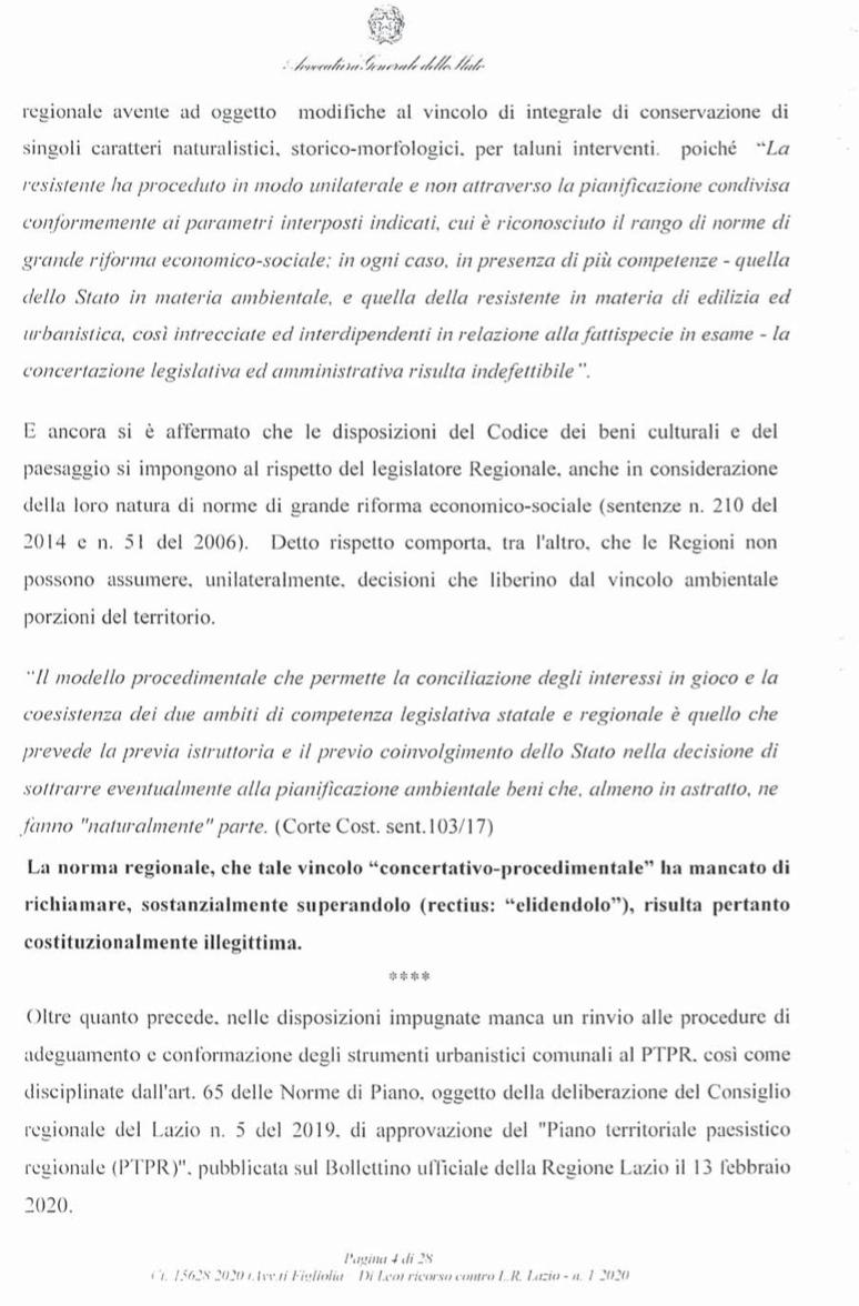 RICORSO MIBACT LAZIO MAGGIO 2O20. pag4 punto 1