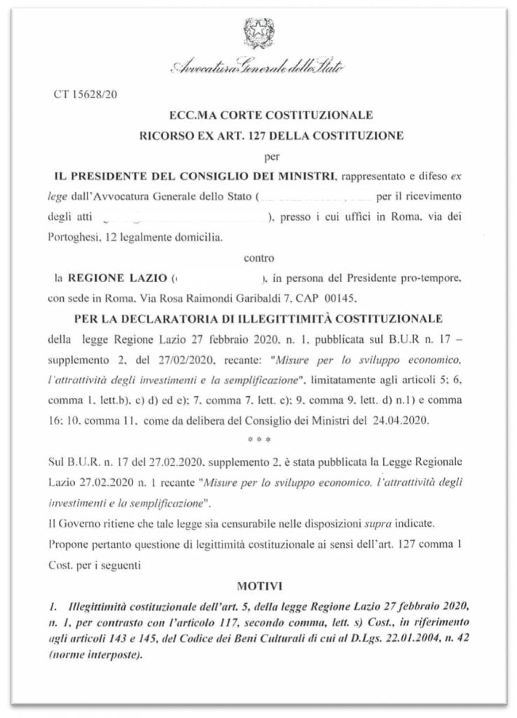 frontespizio ricorso MIBACT regione Lazio 6 maggio 2020