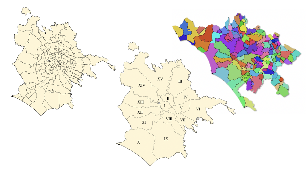 Roma quartieri, Municipi, Citta metropolitana
