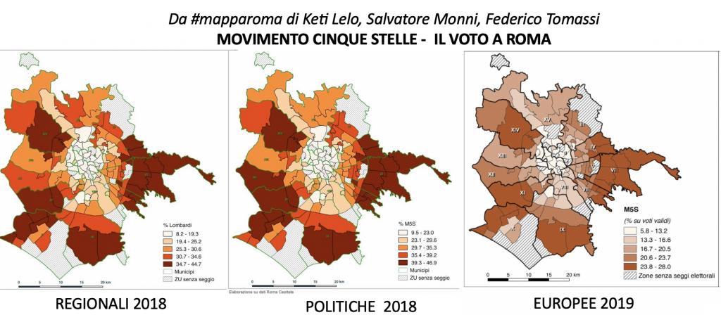 da #mapparoma confronto voto m5s a Roma 2018- 2019