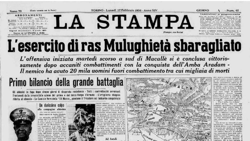 dal sito La Stampa, edizione storica 17 febbraio 1936